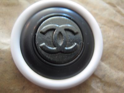 Chanel Dark  Silver Metal Cc Logo Front Black White Resin  Button  26 Mm New