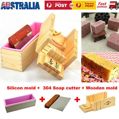 Wooden Handmade Silicone Soap Mold Box Toast Loaf Mold Cutting Slicer Cutter DIY
