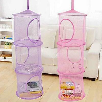 3 Layers Folding Hanging Laundry Basket Mesh Clothes Bra Storage Cage Toy Bag JJ