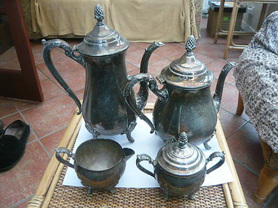 Antique Style 4 Piece Ornate Silver Plated Tea Coffee Pot Set Viners To Restore