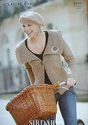 SIRDAR 8955 - LADIES TEXTURED DK CARDIGAN WITH COLLAR KNITTING PATTERN 32/42in