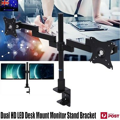 Dual HD LED Desk Mount Monitor Stand Bracket 2 Arm Holds Two LCD Screen TV Black