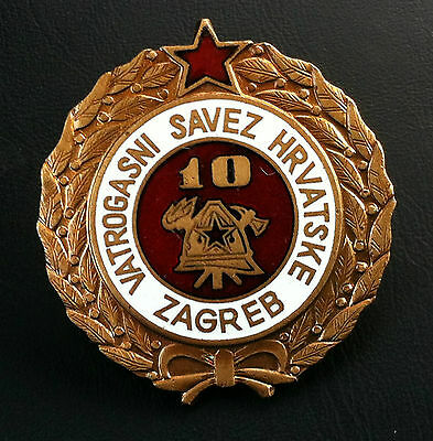 Croatia badge - 10 year service Firefighting - rarre medal Yugoslavia - SFRJ !