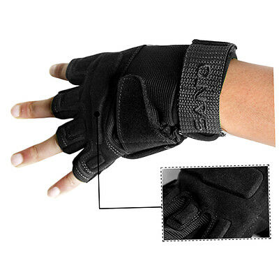2 x Santo Outdoor Tactical Lightweight Semi Finger Knuckle Spandex Gloves F&
