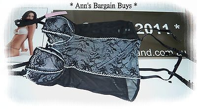Target-Size 12B-Floral Lace-Corset & Suspenders-Black/Blue-BNWT-RRP $39.99-BNWT