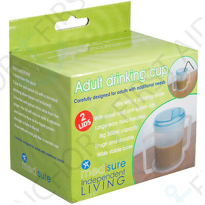 Adult Drinking Cup STRONG HANDLES Wide Base 2x Anti Splash Lids Aid Disability