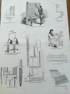 c19th Antique 1845 Steel engraving Musical Instrument Parts of Pianoforte Organ