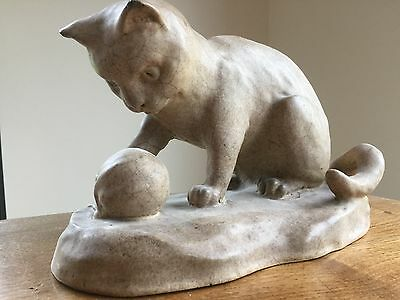 LEFCO WARE Pottery Cat with Ball of String Leeds Fireclay Company Burmantofts