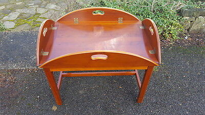 Beautiful Quality Campaign Style Butlers Tray Yew Coffee Table with Lift off Top
