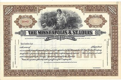 The Minneapolis & St. Louis Railroad Company...unissued Stock Certificate
