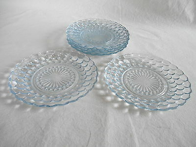 """6 BLUE BUBBLE GLASS 6 3/4"""" BREAD & BUTTER PLATES - Hocking Glass - 1940 - 1965"""