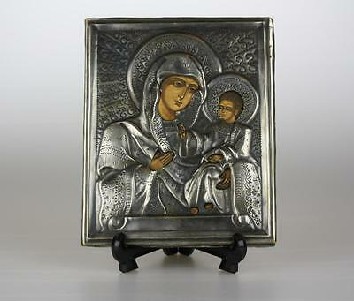 Antique Russian Solid Silver 84 stamp Oklad Ikon Icon of Virgin Mary Kazanskaja