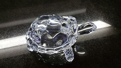 """Amazing Large Vintage Clear Glass Turtle Tortoise - 7"""" long x 4"""" high"""
