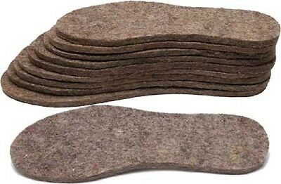 NEW Industrial Insoles 100% Wool Felt Warm & Dry Feet Durable - 1 pair