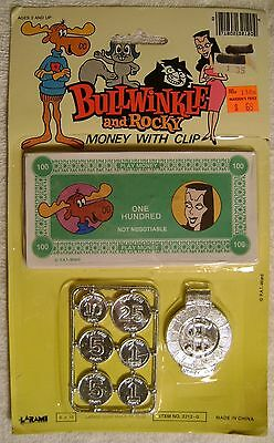 Bullwinkle & Rocky Play Money W/ Coins Clip Set Larami  Natasha Boris