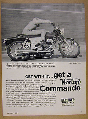 1969 Norton Commando 750 motorcycle race racing photo vintage print Ad