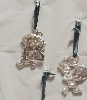Dr Seuss Cat In The Hat 2 Silver Plated Christmas Ornaments
