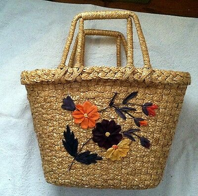 TRIO OF LOVELY OLD BASKETS...lovely yarn decor...DIFFERENT SHAPES AND SIZES