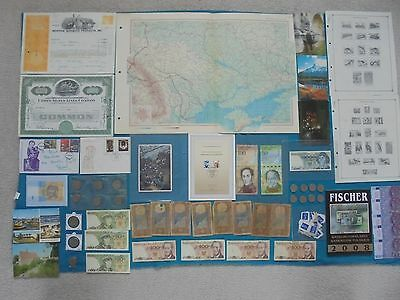 Massive Lot Of World Banknotes, Stamps, Coins Maps, Scrip, Postcards & More