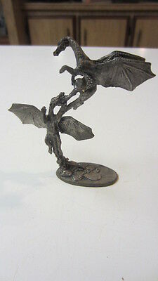 1988, Gallo Pewter Dragons Fighting Over a Crystal Figurine by J. Guthrie