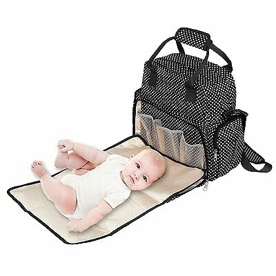 Dazone Baby Diaper Bag Diapers Backpack Changing Bag Mummy Tote Waterproof Black