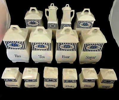 Antique Mepoco Iridescent/White  Porcelain Canisters Kitchen Set of 14 pieces