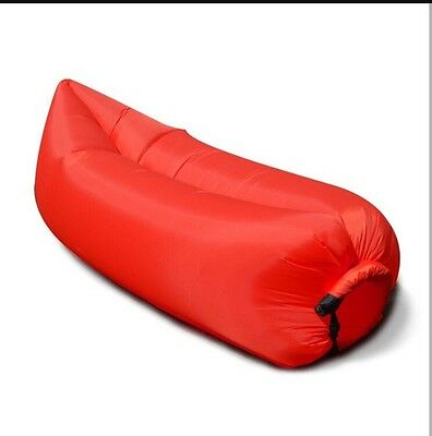 Red Lazy Bag Inflatable Air Bed Sofa Camping/Festivals Blow Up Chair *NEW*UK*