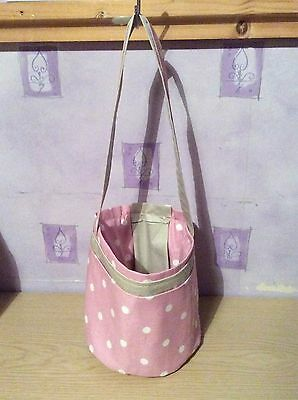 Knitting, Crocheting and Sewing Bucket Bag - Pink with White Spot