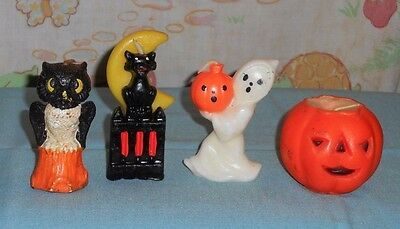 vintage Halloween GURLEY & SUNI CANDLE LOT OF 4 ghost owl cat/fence/moon jol