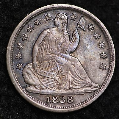 1838 Seated Liberty Half Dime CHOICE UNC FREE SHIPPING E191 CHT
