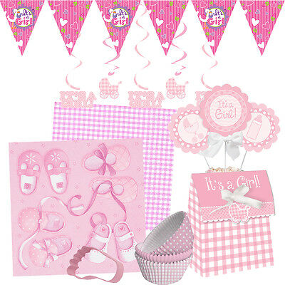 NEW BABY GIRL Baby Shower Party Range - Tableware Balloons Banners & Decorations