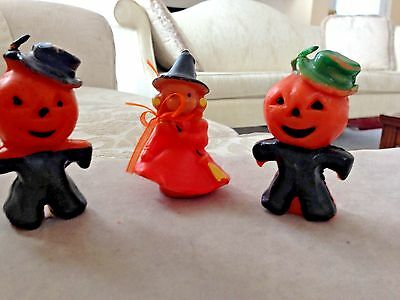 Vintage Gurley Halloween candles--one witch and two scarecrow pumpkin men