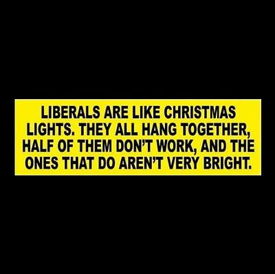 "Funny ""LIBERALS ARE LIKE CHRISTMAS LIGHTS"" Anti Hillary, Obama BUMPER STICKER"
