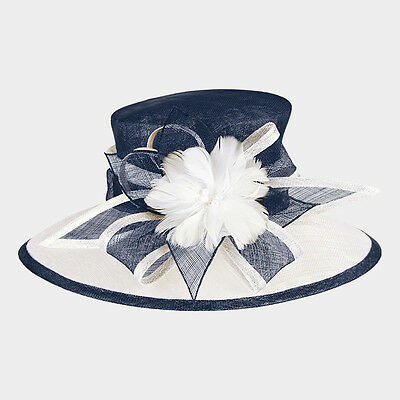 Womens Two Tone Feather Flower Sinamay Hat Wedding Church Derby - USA Seller