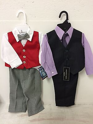 New Baby Boy's Dress Suit Size 12 Months 4 Piece Suit With Tie Easter Outfit