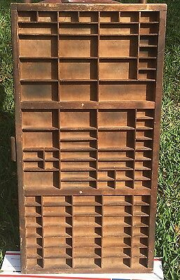 VINTAGE HAMILTON PRINTER'S TYPESET DRAW DIVIDED SHADOW BOX CAST METAL PULL 16x32