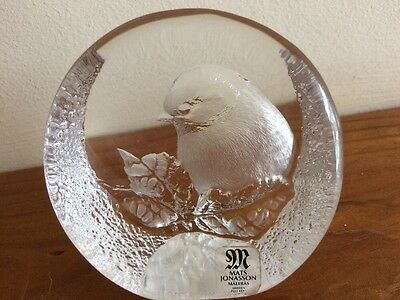 Vintage Mats Jonasson Bird in Tree Glass Paperweight Labelled and signed