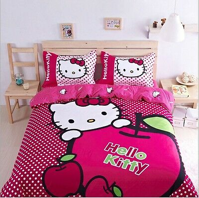 Hello kitty cartoon bed set bedding  kids twin queen size 2017  cover sheet New