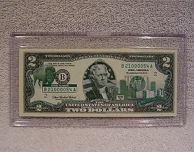 Oklahoma  $2 Two Dollar Bill - Colorized State Landmark - Uncirculated Authentic