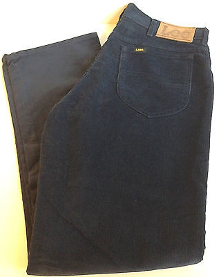 Vintage RETRO 80s LEE NAVY BLUE CORDUROY JEANS MADE IN USA MEN'S PANTS 34 X 30