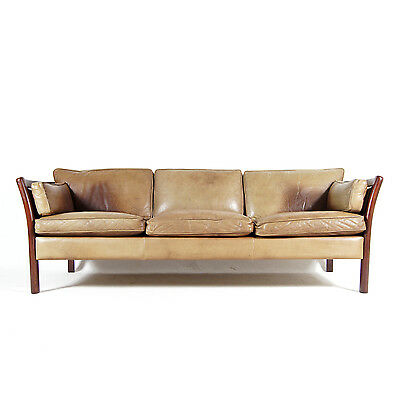 Retro Vintage Danish Stouby Design 3 Seat Seater Rosewood & Leather Sofa 60s 70s