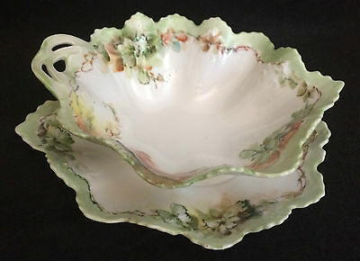 Antique Moritz Zdekauer MZ Austria Porcelain 2 Dish Bowl Set