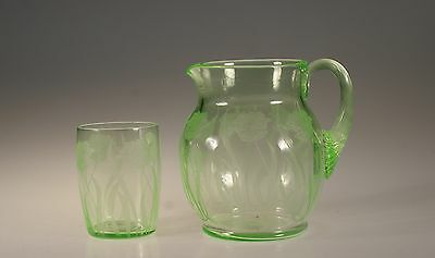 Vintage Cambridge Glass Company Guest Set #726 Poppy Etch Jug & Tumbler c.1930