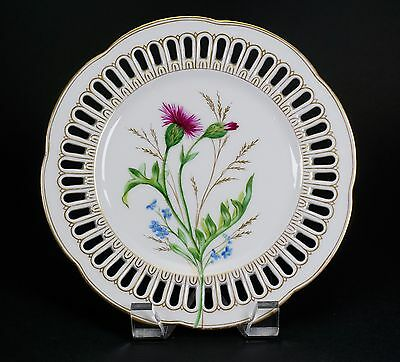 Antique Fischer and Meig Reticulated Hand Painted Floral Plates - Set of Four