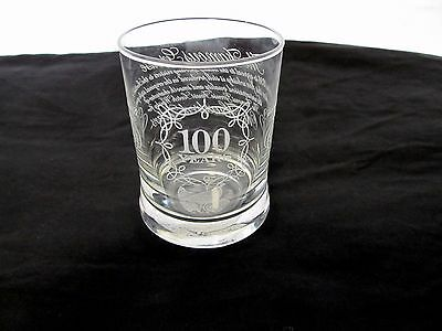 The Famous Grouse Etched Whisky Tumbler Drinking Glass 100 Years