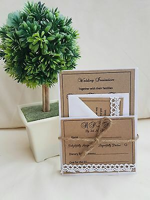 50 Personalised Handmade Rustic Lace wedding day Or Evening invitation bundles