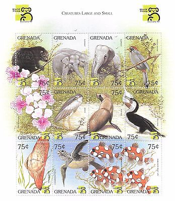Grenada- Creatures Large and Small, 1999 - Sc 2850 Sheetlet of