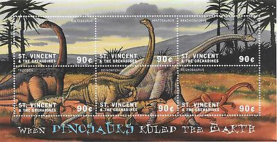 St. Vincent - When Dinosaurs Ruled The Earth, 2001 - Sc 2972 Sheetlet of 6 MNH