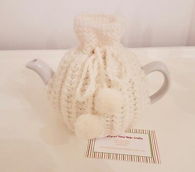 Hand Knitted 1 - 2 Cup Tea Cosy - Cream