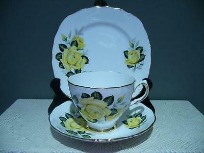Colclough England Lovely Yellow Roses Trio - Bone China - Very Good Condition